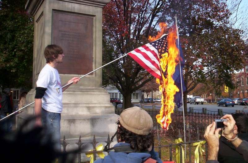 Pictures People Burning Flags