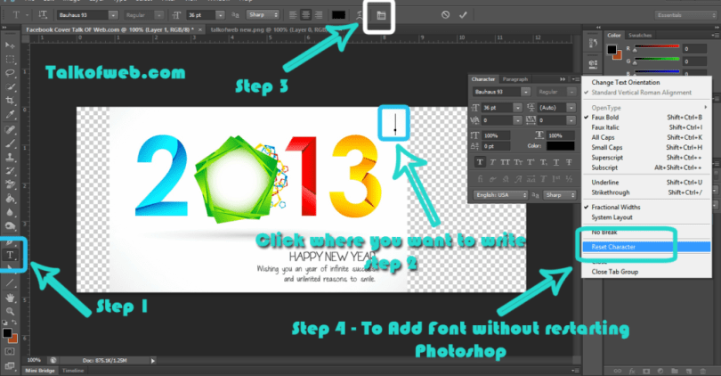 Reset Font Character in Photoshop - Add Fonts to Photoshop without Restarting