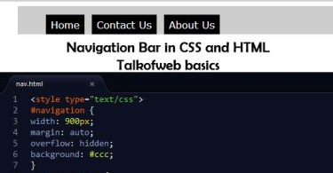 Navigation bar in Css and HTML