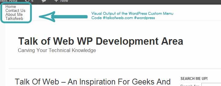 Output View of the WordPress custom Menu for Navigation