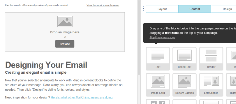 7- Designing Email template at the Mailchimp
