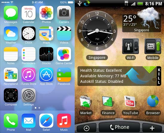 Android Home Screen and iOS Homescreen