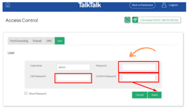 how to get into talktalk router settings