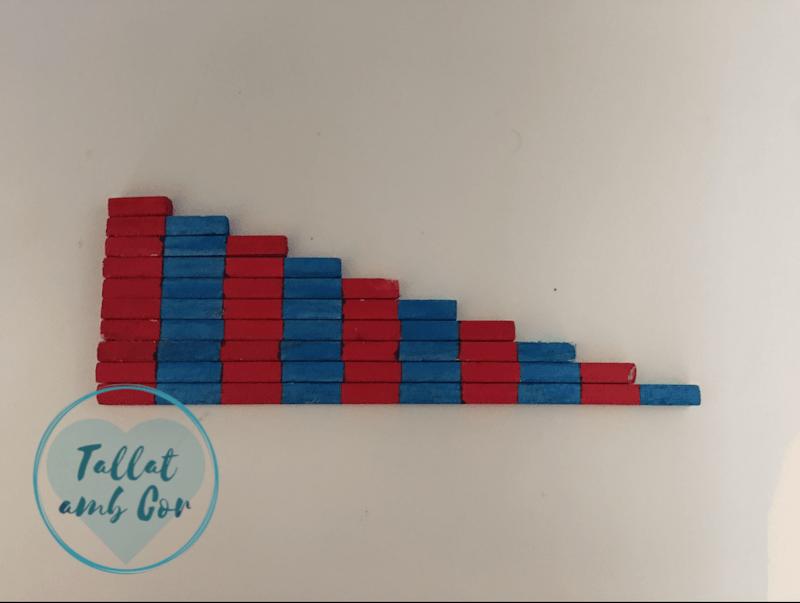 10 listones rojos y azules ordenados por tamaño