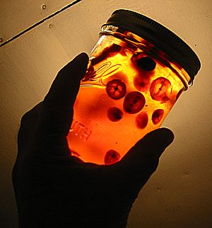 jar of homemade apple jelly with chopped cranberries