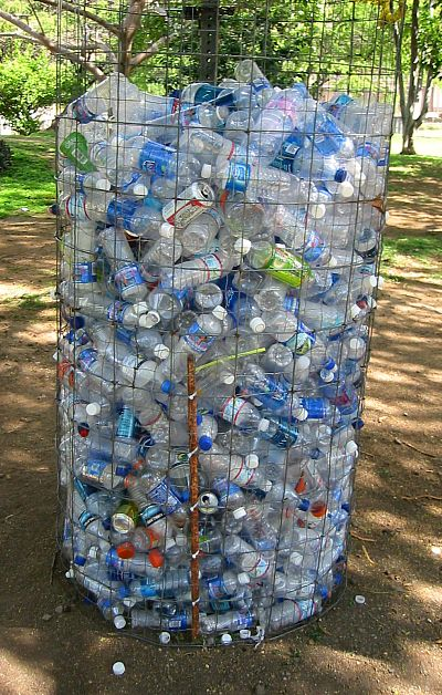 a huge bin of thrown away water bottles in Honolulu