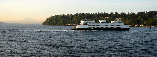 Washington State Ferry heading to Vashon, Mt Rainer in background