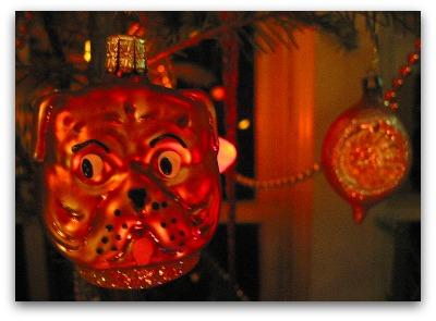 blown glass dog ornament