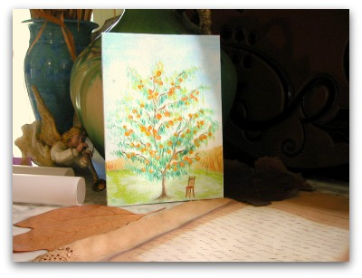 painting of a peach tree