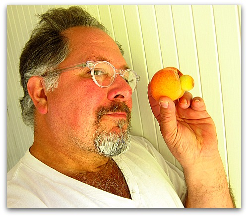 portrait with a peach