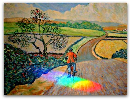 painting of bike rider