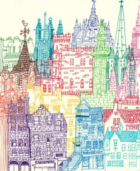 Edinburgh Towers & Glasgow Towers. Ilustracion de Cheism.