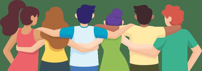 Personas abrazadas de espaldas