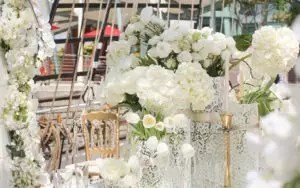 wedding arrangement with white flowers royal albatross