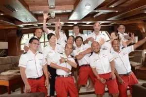 happy crew pictures inside grand salon royal albatross