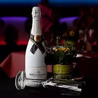 white moet in table of royal albatross