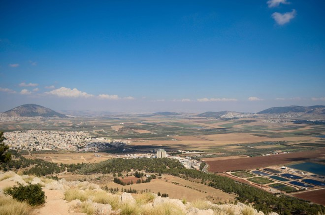 The Jezreel Valley from a mountain just outside of Nazareth. Perhaps young lad Jesus came here with his playmates to watch the action below.