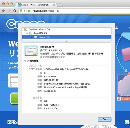 SSLサーバ証明書ドメイン認証(Chrome)