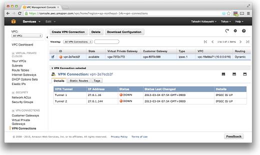 VPC VPNconnections IPSec UP/BGP Down