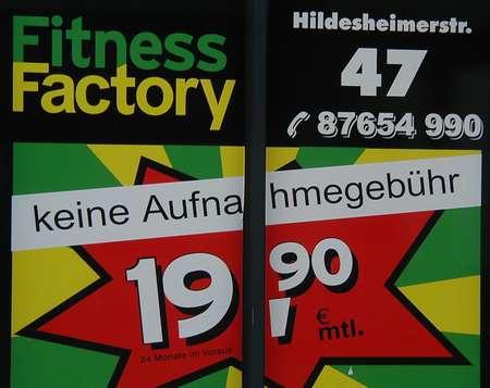 Fitness Factory - Hildesheimerstr. 47 - keine Aufnahmegebühr - 19,90 € mtl.