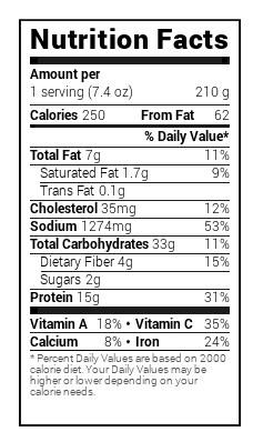 chicken in tomatillo nutritional information