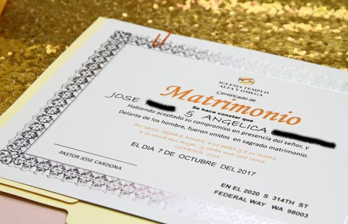 marriage certificate wedding photo