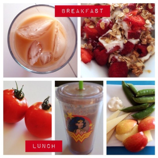 Breakfast: coffee with milk and half-n-half, Greek yogurt with raspberries, strawberries, granola & peanut butter Lunch: tomatoes, protein shake, apples & cheese, snap peas & dip