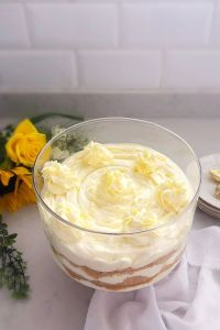 Trifle made with a lemon cheesecake mixture