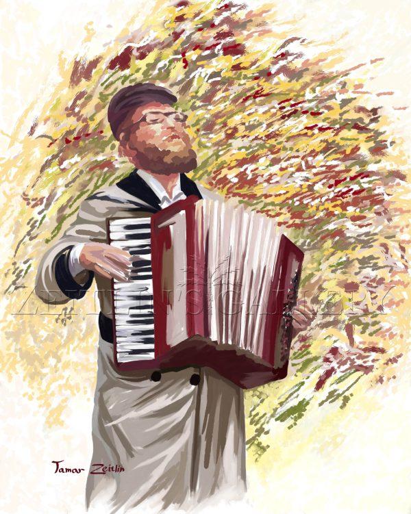ציור חסיד מנגן באקורדיון