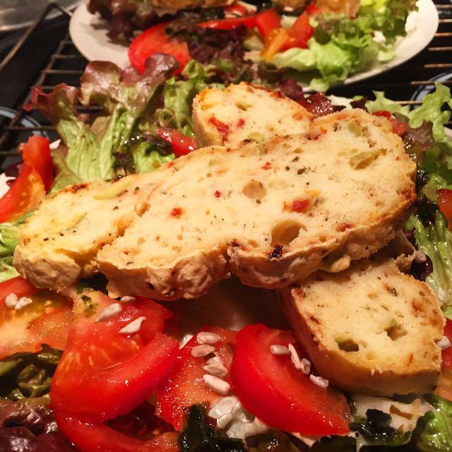 cake végétal sans gluten tomates olives
