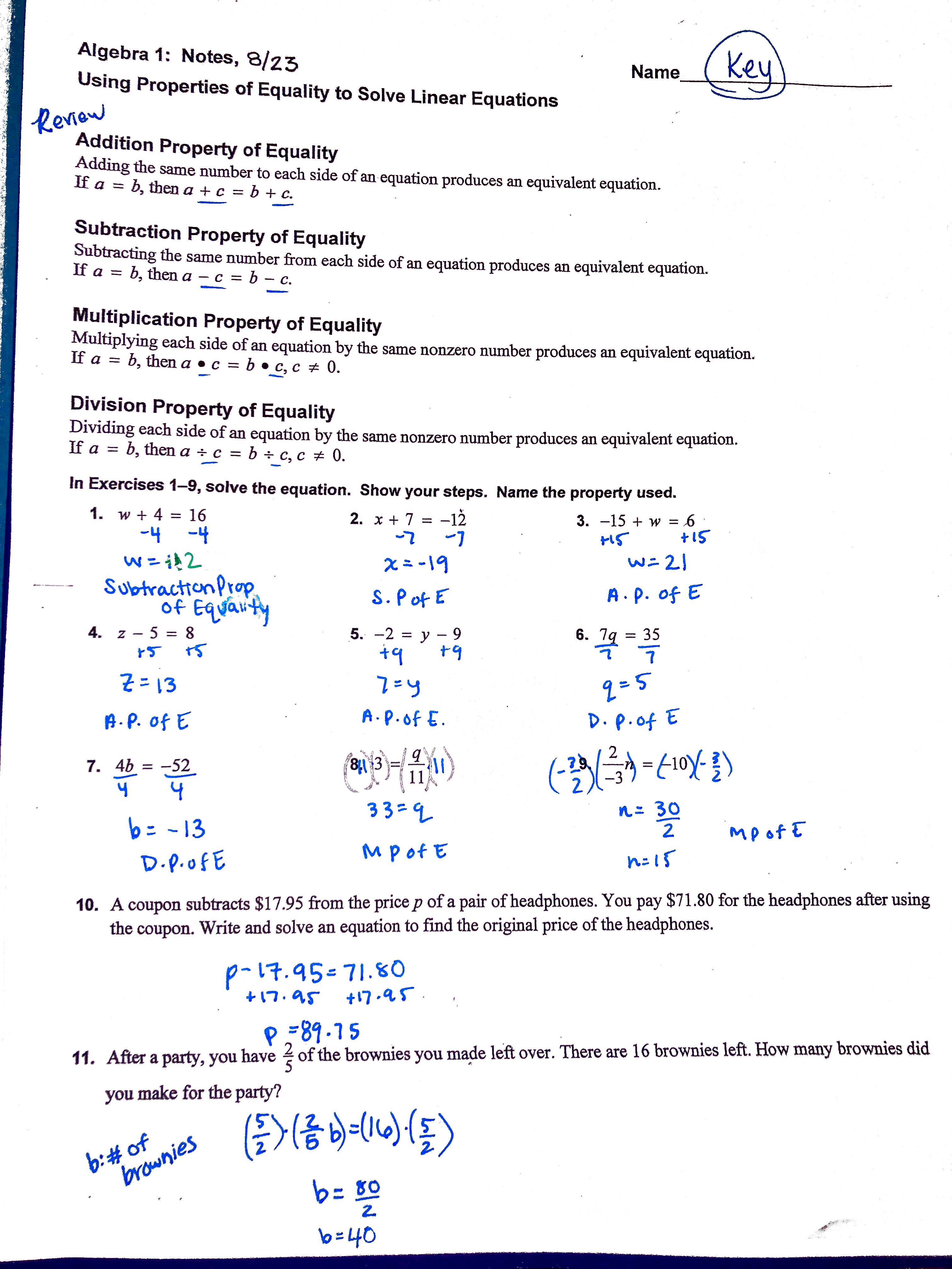 Linear Equations Review Worksheet Algebra 1 Answers