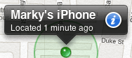 Find My iPhone info bubble