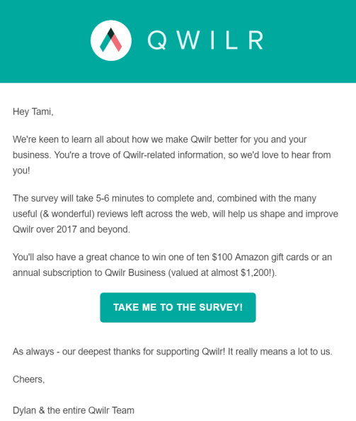 Customer survey email example