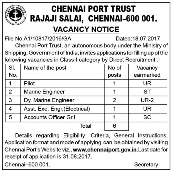 Chennai Port Trust Recruitment 2017
