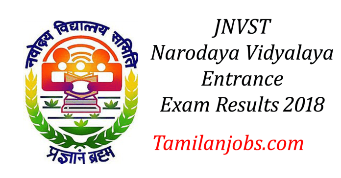 JNVST 9th Results 2018: Navodaya Vidyalaya class 9 Selection list @ www.nvshq.org