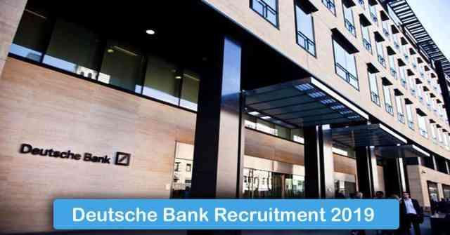 Deutsche Bank Recruitment 2019