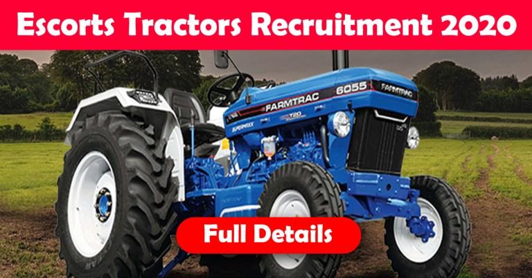 Escorts Tractors Recruitment 2020: 100+ Fresher & experienced Job Openings