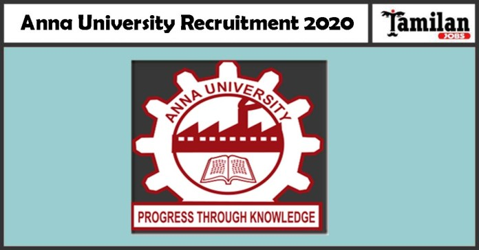 Anna University Recruitment 2020 is out, Apply 05 Project Associate Walk-in Jobs