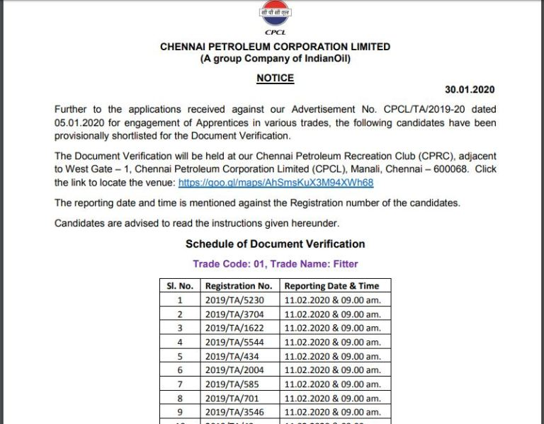CPCL Apprentice Selection List 2020 OUT | Download Interview Date