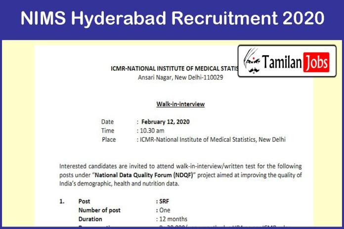 NIMS Hyderabad Recruitment 2020
