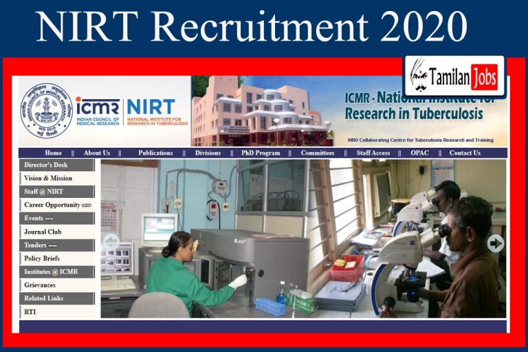 NIRT Recruitment 2020 Out – Apply Director Jobs