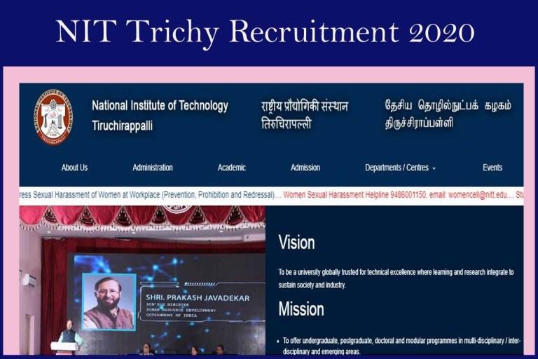 NIT Tiruchirappalli Recruitment 2020 Out – Apply JRF Jobs