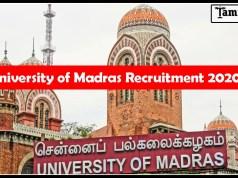 University of Madras Recruitment 2020