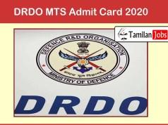 DRDO MTS Admit Card 2020