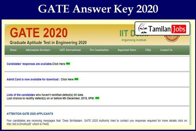 GATE Answer Key 2020