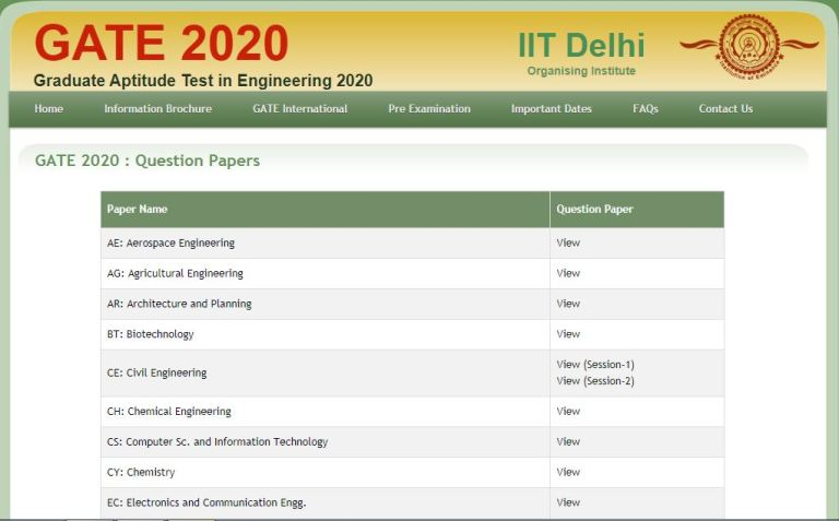 GATE Question Paper 2020 OUT Download PDF @ gate.iitd.ac.in