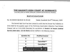 Gauhati High Court Assam Judicial Service Answer Key 2020