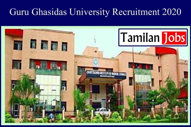 Guru Ghasidas University Recruitment 2020