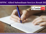 HPPSC Allied Subordinate Services Result 2020