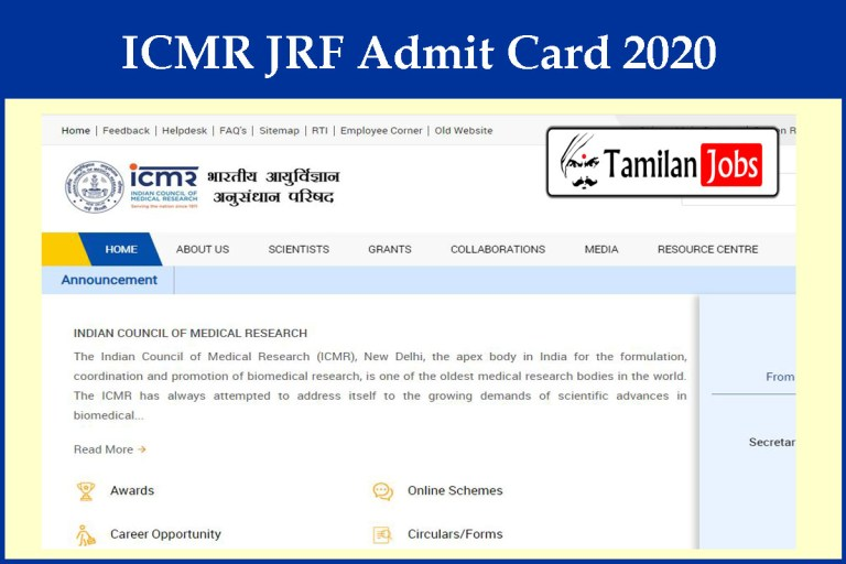 ICMR JRF Admit Card 2020 Ready to Release Soon   Exam Date (out) @ icmr.nic.in